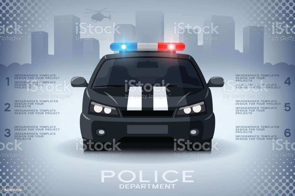 Infographics with generic police car and skyscrapers vector art illustration