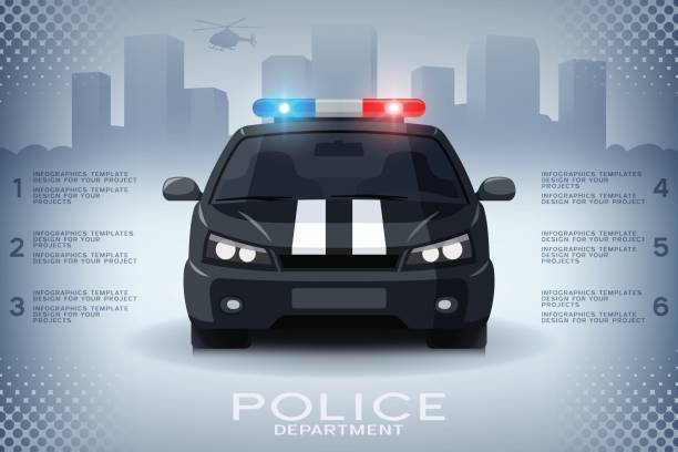Infographics with generic police car and skyscrapers Infographics design with generic police car and skyscrapers police car stock illustrations