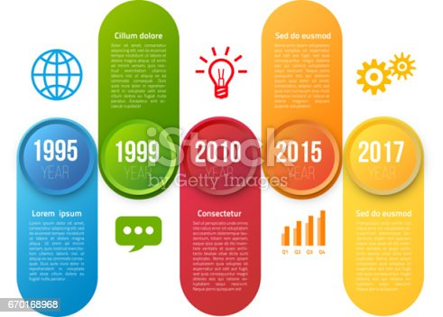 Infographics with 5 steps or options, colorful bright design, vector template