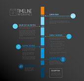 Vector Infographic timeline report template with the biggest milestones, icons, years and color buttons - blue vertical dark time line version
