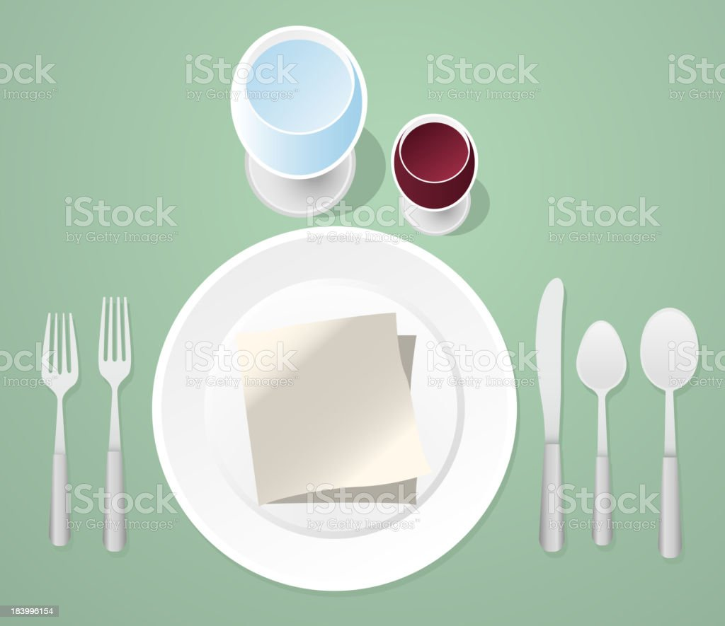 Informal Place Setting Table royalty-free stock vector art