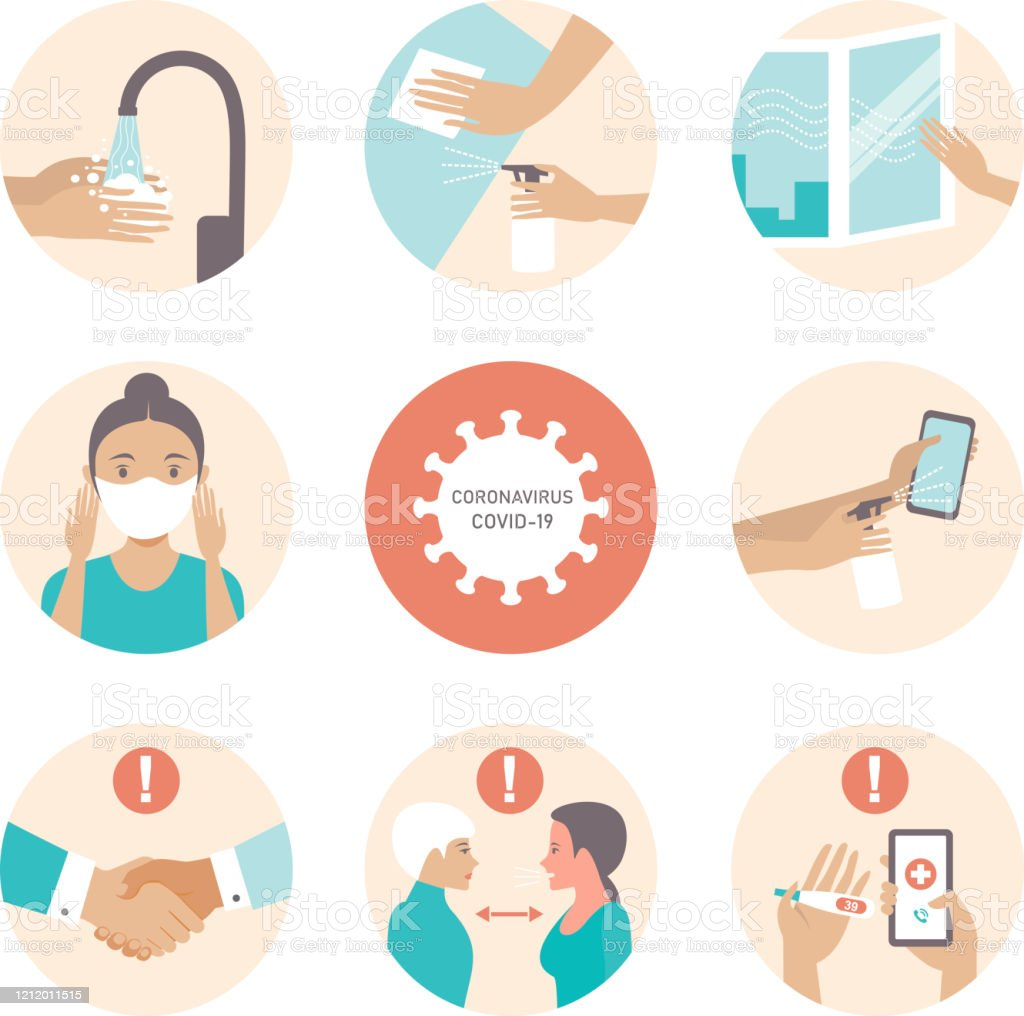 Information about covid-19 and virus protection tips 2019-nCoV covid-19 virus protection tips. Coronovirus alert. Set of flat vector illustration Accidents and Disasters stock vector