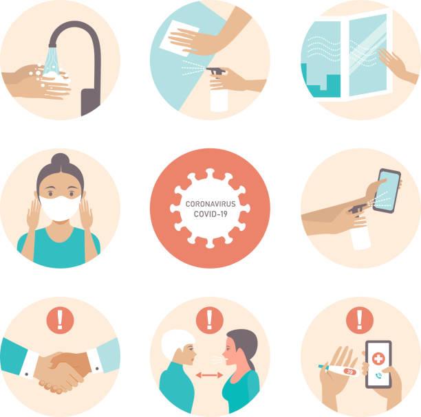 ilustrações, clipart, desenhos animados e ícones de informações sobre covid-19 e dicas de proteção contra vírus - higiene