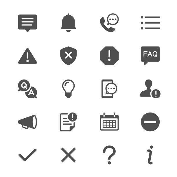 Information and notification glyph icons Simple vector icons. Clear and sharp. Easy to resize. alertness stock illustrations