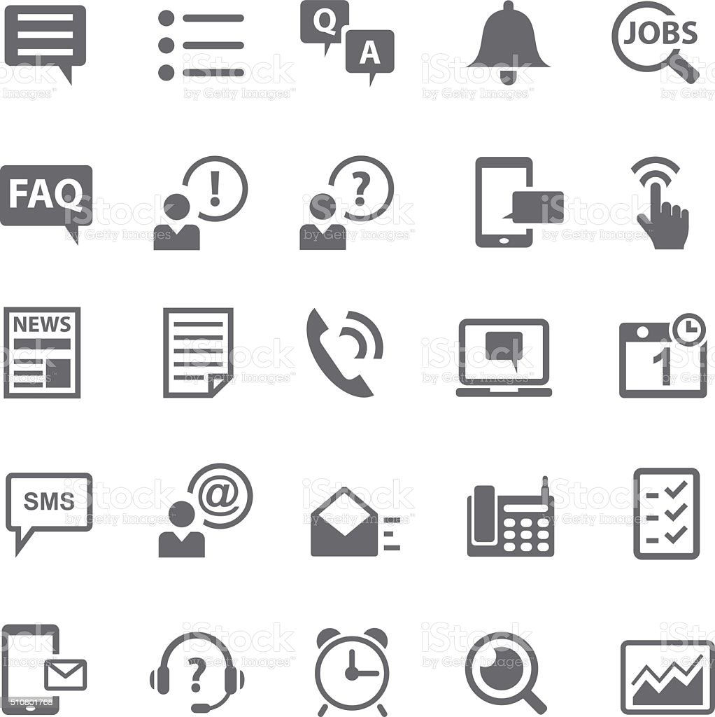 Information and notification icon set vector art illustration