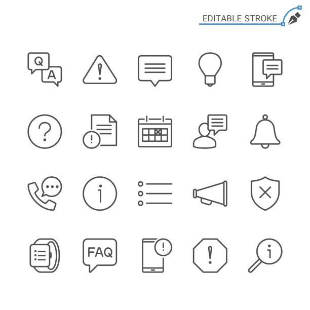 ilustraciones, imágenes clip art, dibujos animados e iconos de stock de iconos de línea de información y notificación. movimiento editable. pixel perfecto. - faq
