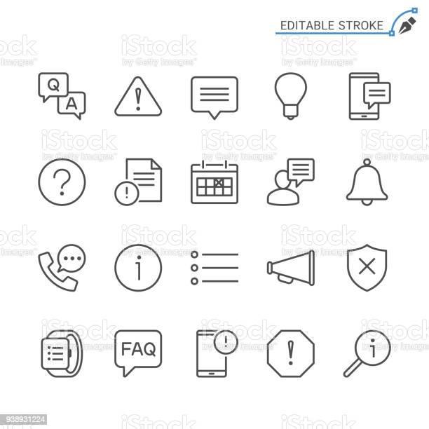Icônes De Ligne Dinformation Et De Notification Modifiables En Course Pixel Perfect Vecteurs libres de droits et plus d'images vectorielles de Affaires
