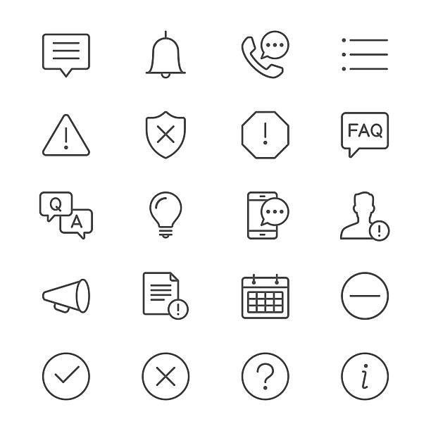 Informationen und Benachrichtigung dünne Symbole – Vektorgrafik