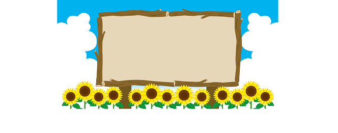 Information board frame surrounded by summer cumulonimbus clouds, sunflower fields, and trees