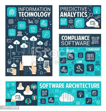 Information and data technology poster for internet search content predictive analytics. Vector software architecture for user online web cloud storage and files sharing network