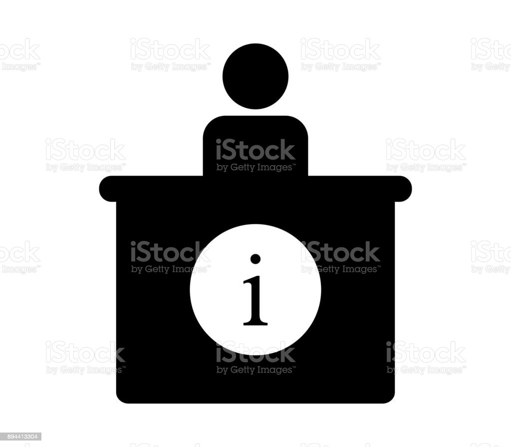 information desk vector art illustration
