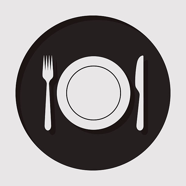 information icon - cutlery, fork, knife with plate - ランチョンマット点のイラスト素材/クリップアート素材/マンガ素材/アイコン素材