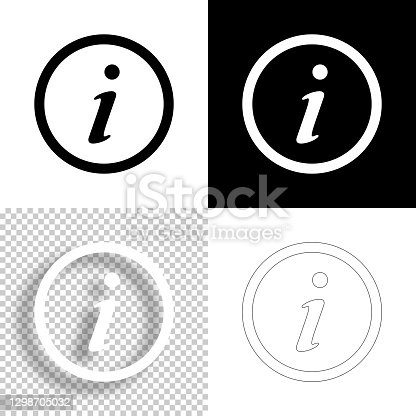 istock Information. Icon for design. Blank, white and black backgrounds - Line icon 1298705032