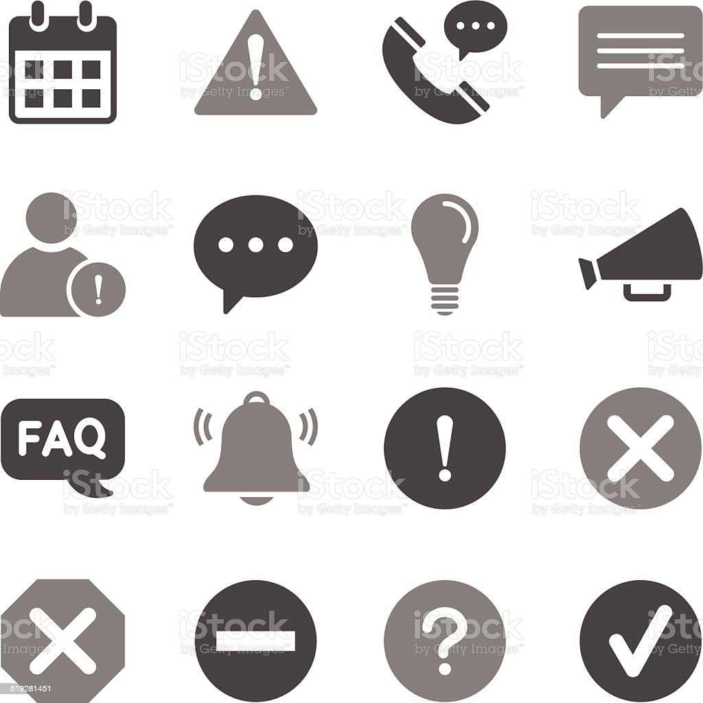 Information Icons Gray Color vector art illustration