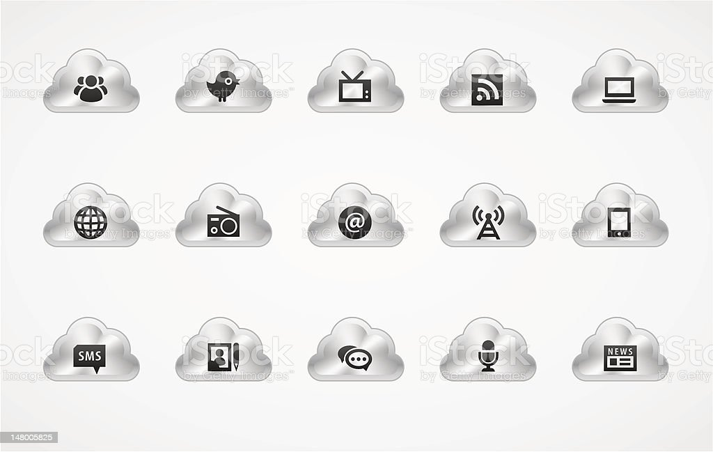 Information icons | Metallic clouds royalty-free stock vector art