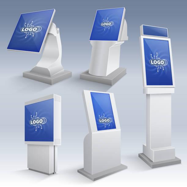 stockillustraties, clipart, cartoons en iconen met interactieve informatiekiosk wordt weergegeven. touchscreen staat vector sjablonen - board game outside