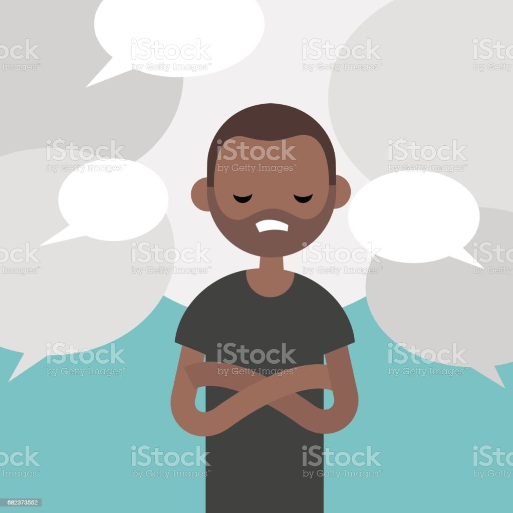 Information noise. Rumors. Exhausted black character surrounded by speech bubbles / flat editable vector illustration, clip art vector art illustration