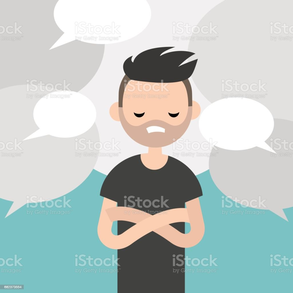 Information noise. Rumors. Young exhausted character surrounded by speech bubbles / flat editable vector illustration, clip art vector art illustration