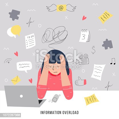 Information overload and multitasking problems concept. Flat and handdrawn vector illustration