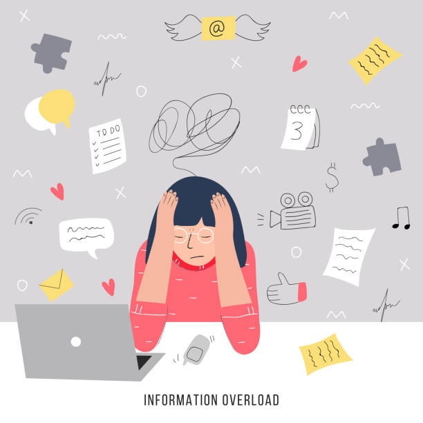 information overload and multitasking problems concept. flat and handdrawn vector illustration. - stress stock illustrations, clip art, cartoons, & icons