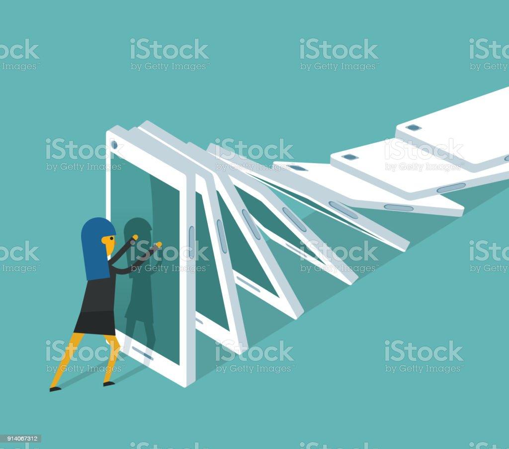 La sobrecarga de información - empresaria - ilustración de arte vectorial