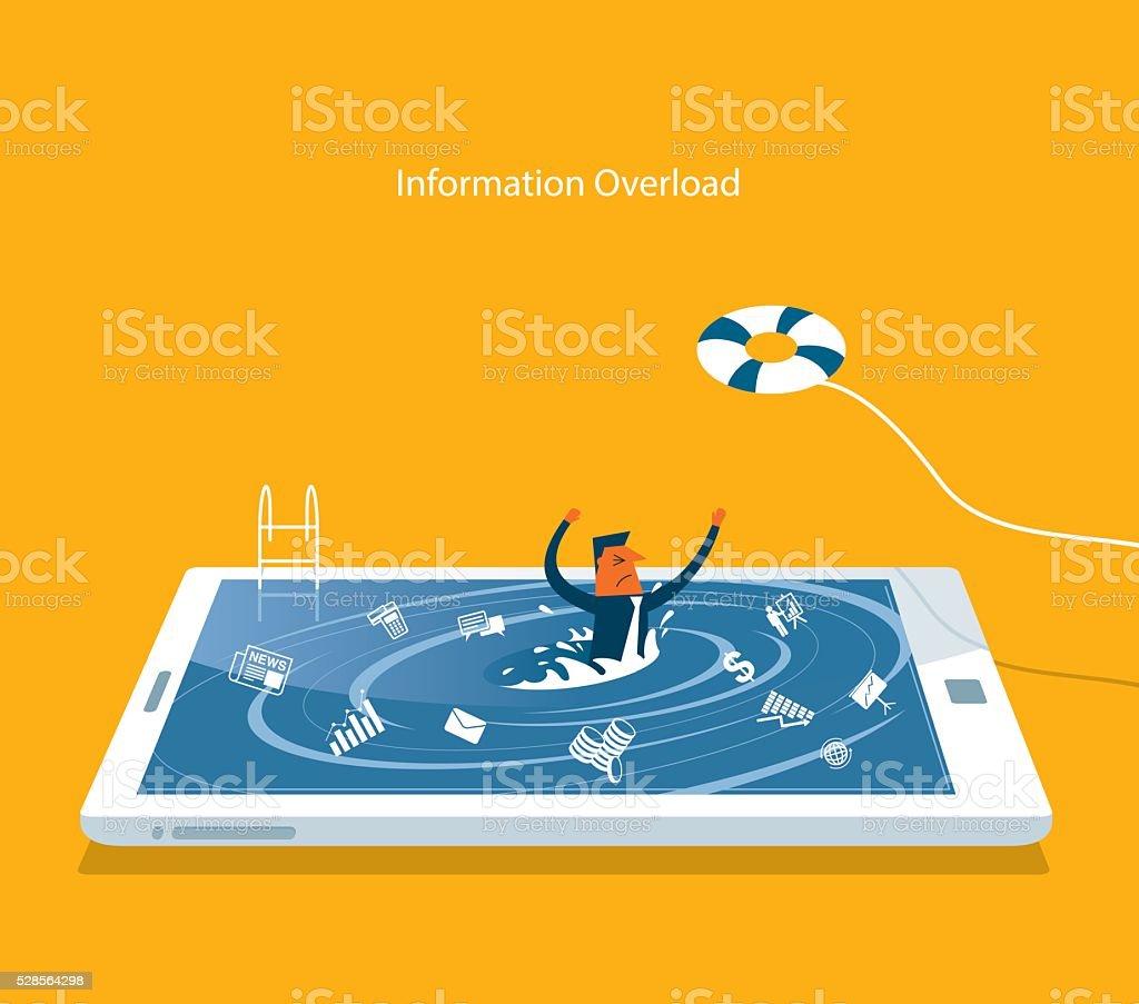 Information Overload vector art illustration