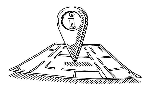 information point on floor plan drawing - alphabet clipart stock illustrations