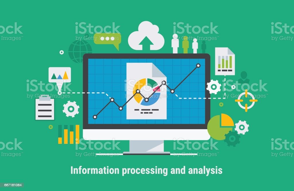 Information processing and analysis vector art illustration