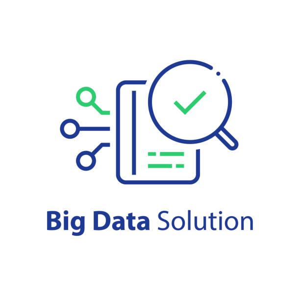 stockillustraties, clipart, cartoons en iconen met informatieverwerking concept, grote gegevens vastleggen, opslag en analyse - oppakken