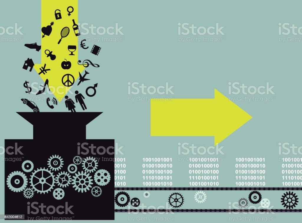 Information repackaging vector art illustration