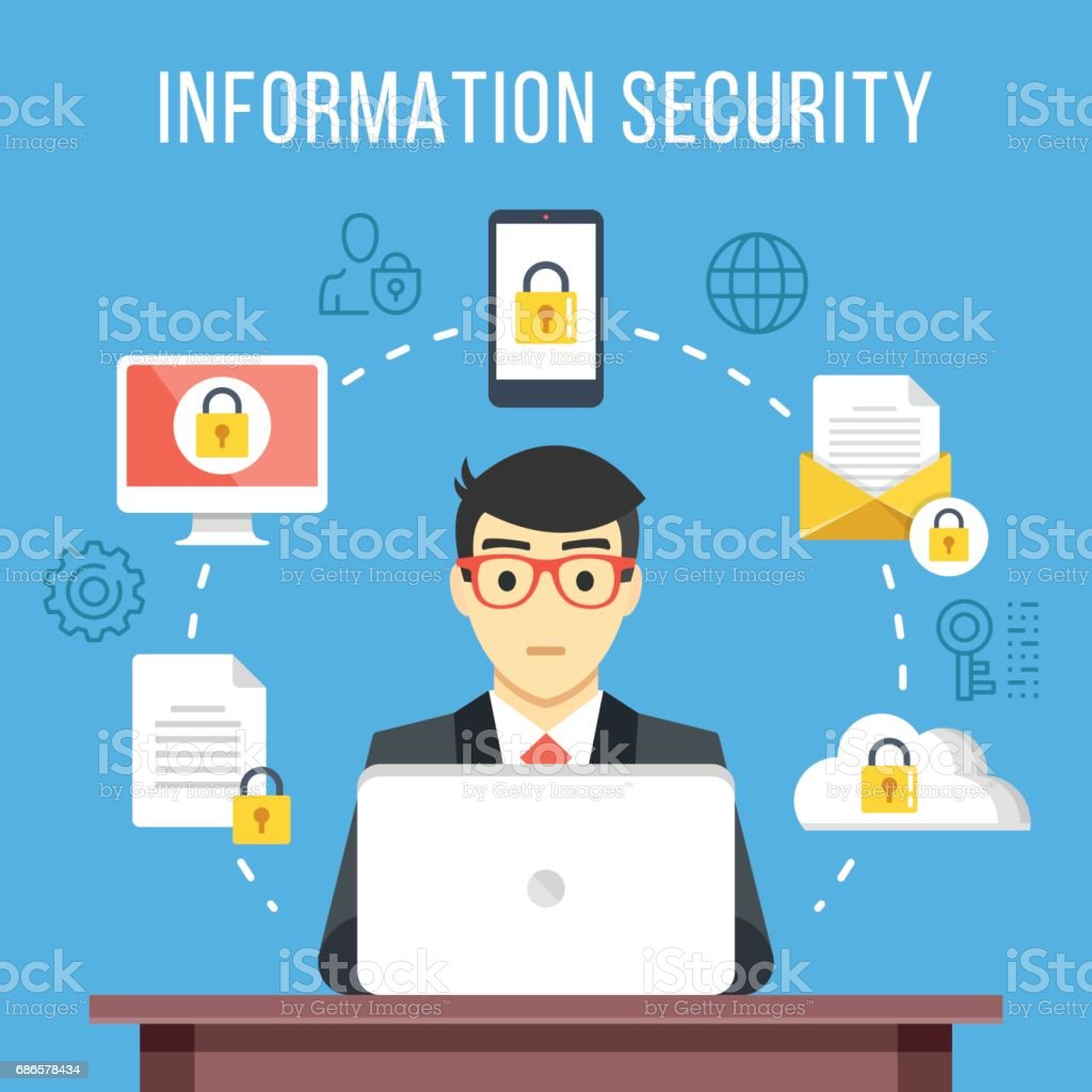 Information security, data protection concept. Man at computer at work. Flat icons, thin line icons set, modern flat design graphic elements. Vector illustration vector art illustration