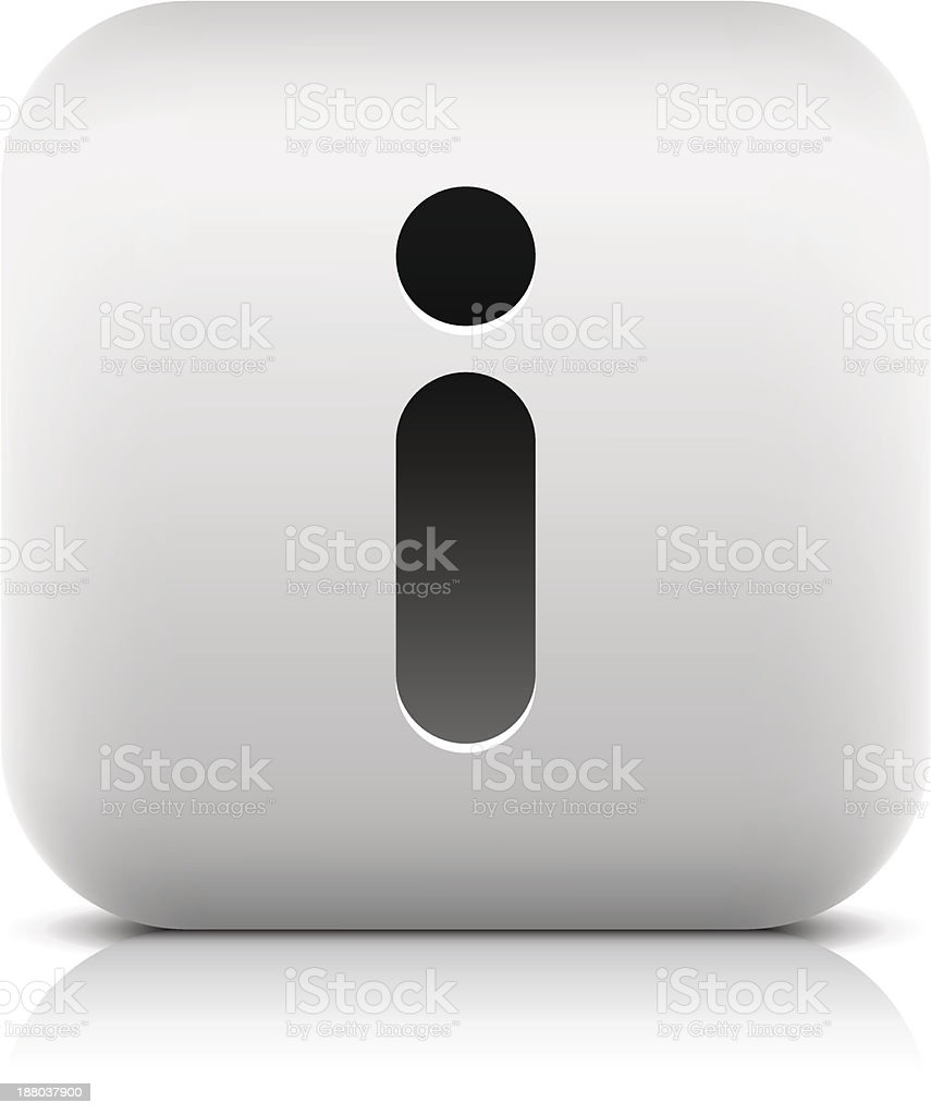 Information sign rounded square icon web internet button black pictogram royalty-free stock vector art