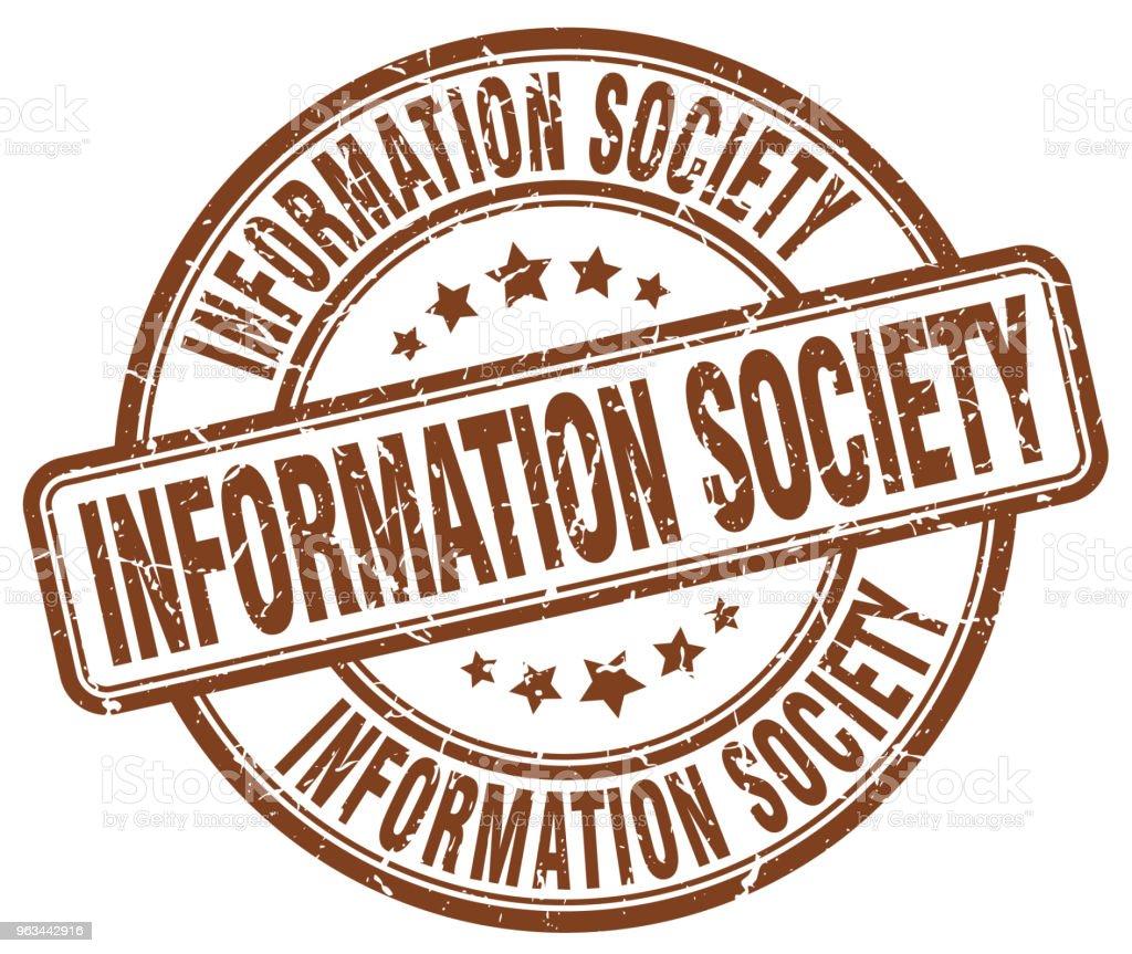 information society brown grunge stamp - Grafika wektorowa royalty-free (Atrament)