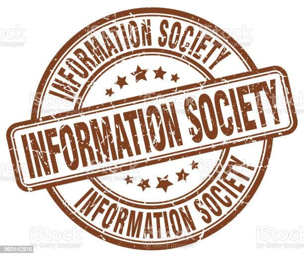 Społeczeństwo Informacyjne Brązowy Stempel Grunge - Stockowe grafiki wektorowe i więcej obrazów Atrament