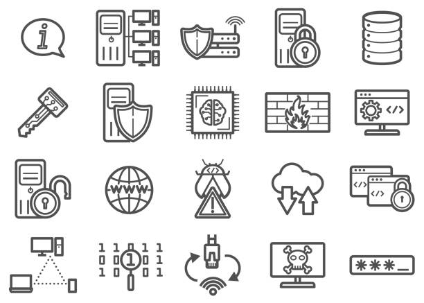 information technology clip art vectors and line icons set 01 - computer server room stock illustrations