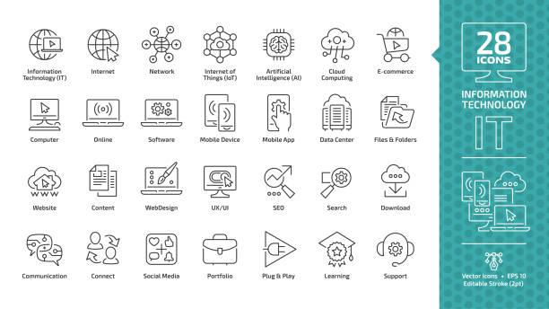 bildbanksillustrationer, clip art samt tecknat material och ikoner med information technology redigerbara stroke disposition ikonuppsättning med det nätverk system, kommunikation, online dator, webbplatsens innehåll, webbdesign, programvara, datacenter, mobil enhet och app tunn linje tecken - it support