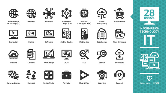 Information technology glyph icon set with IT network system, global internet, data center, communication, web site, social media, seo business, e-commerce, support, computer and mobile device sign. clipart