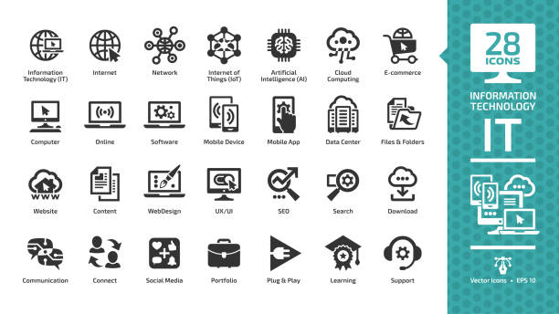 information technology glyph icon set with it network system, global internet, data center, communication, web site, social media, seo business, e-commerce, support, computer and mobile device sign. - icons stock illustrations