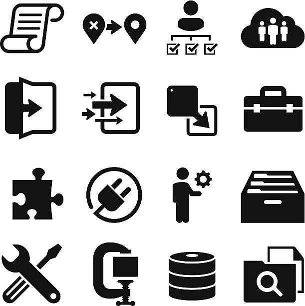Information Technology Icons - Black Series vector art illustration