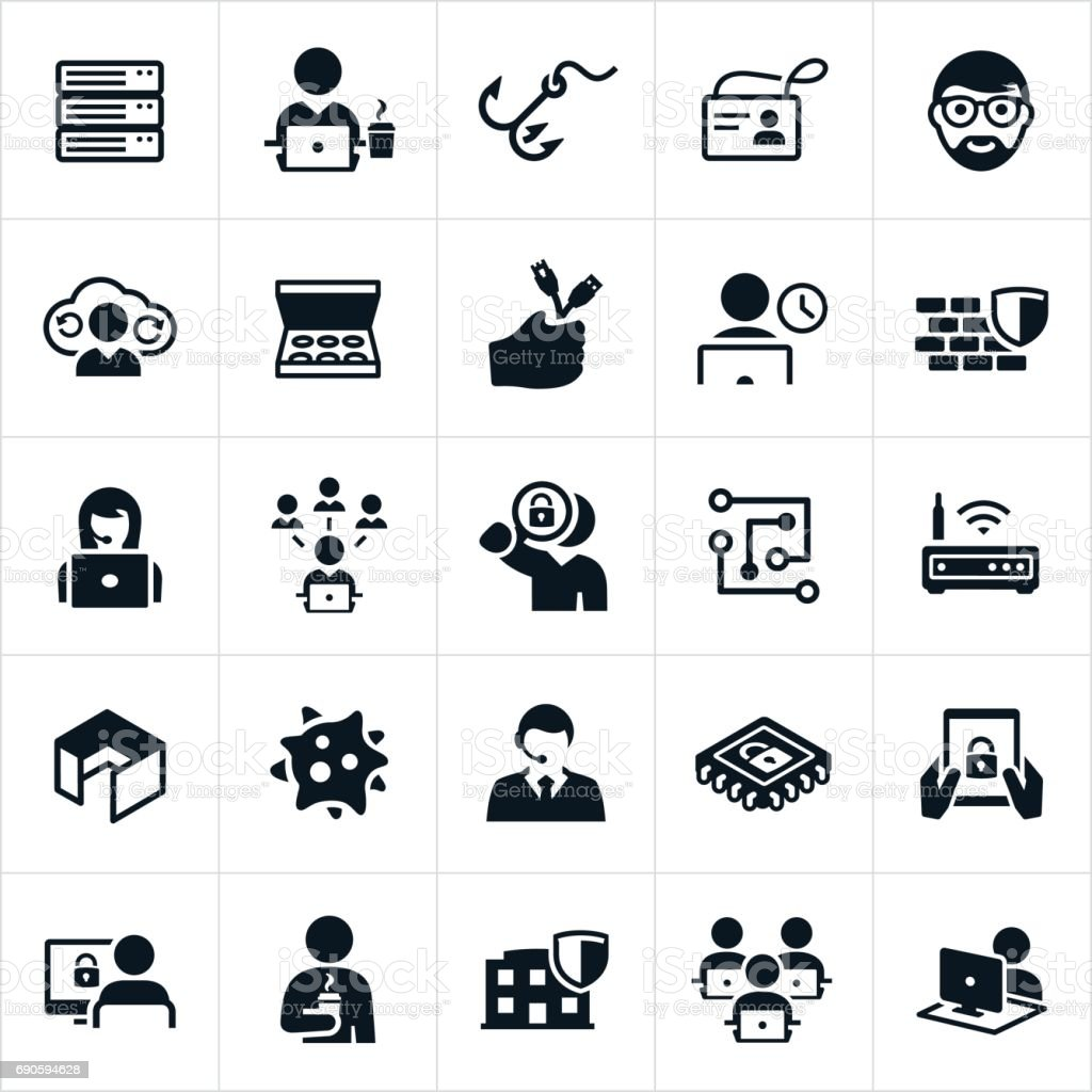 Information Technology Icons vector art illustration