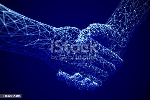 Information technology in business, digital deal or online commerce: digital handshake. Artificial intelligence or global communication. Abstract technology background. EPS 10, vector illustration.