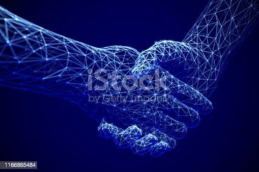 istock Information technology in business, digital deal or online commerce: digital handshake. Artificial intelligence or global communication. 1166865484