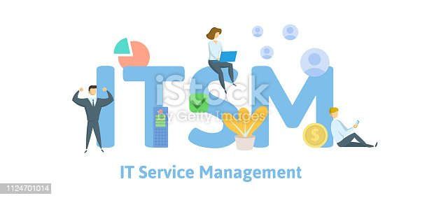 ITSM, Information Technology Service Management, acronym business concept. Concept with keywords, letters and icons. Colored flat vector illustration. Isolated on white background.