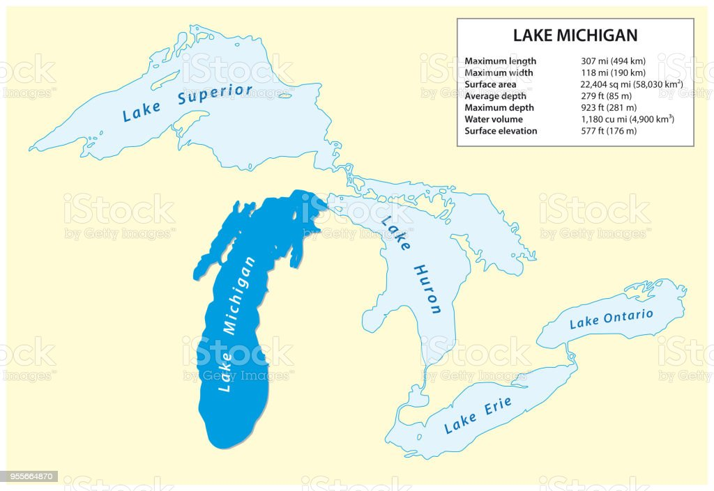 Information Vector Map Of Lake Michigan In North America Stock ...