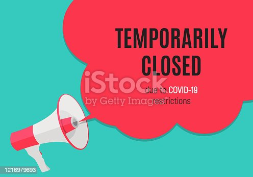 istock Information warning temporarily closed sign of coronavirus news. Vector Illustration 1216979693