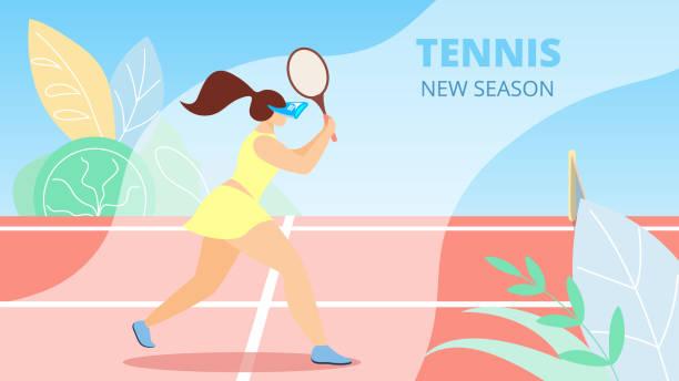informational flyer ist written tennis new season. - wimbledon stock-grafiken, -clipart, -cartoons und -symbole