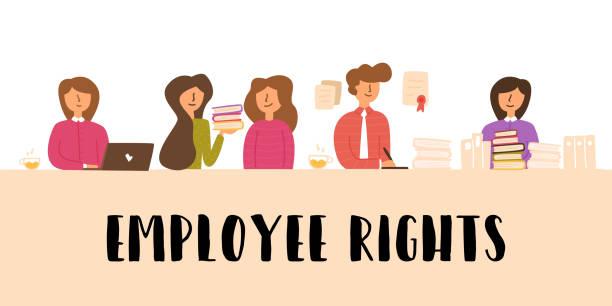 Informationsplakat inschrift Arbeitnehmerrechte. – Vektorgrafik