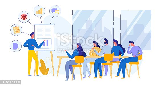 Informational Poster Meeting Daily Glider Flat. Professional Coach Conducts Training in Workplace. Employees Company Listen to Proposal Chief. Vector Illustration on White Background.