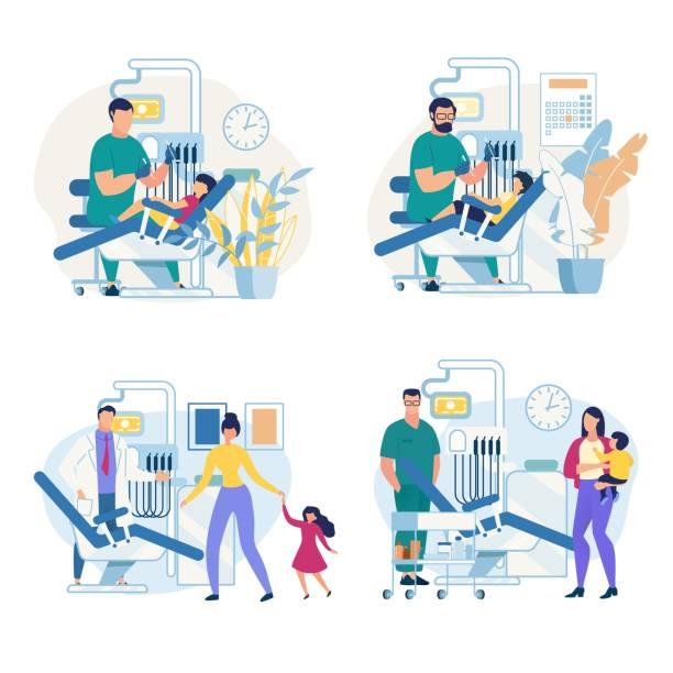 Informational Poster Pediatric Dental Clinic. Informational Poster Pediatric Dental Clinic. Flyer Dentist Treats Childs Teeth. Boy at Reception at Dentist. Mother Brought  Baby for Examination to Doctor Cartoon. Vector Illustration. dentist stock illustrations