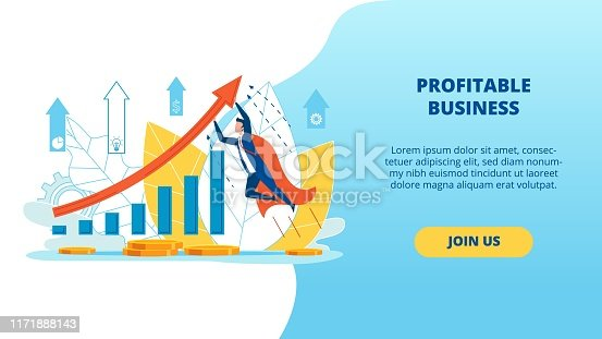 Informational Poster Profitable Business Lettering. Banner Opinion Leaders in Business Sector. Guy in Super Hero Costume Takes off In Direction Red Arrow Cartoon. Vector Illustration.